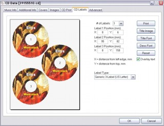 Music Library CD labels print option